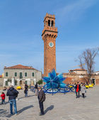 Clock Tower and Glass Sculture in Campo Santo Stefano in Murano — Stock Photo