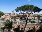 High view of Trajan Markets and Part of the Roman Forum — Stock Photo