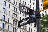 Signes de Wall street et broadway street — Photo