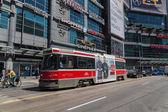 Toronto Streetcar at Yonge Dundas Square — Stock Photo