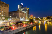 Danube Canal in Vienna During the Blue Hour — Stock Photo