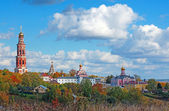 Russian landscape: Orthodox church under the blue sky — Stock Photo