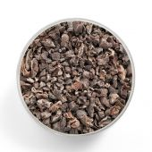 Superfood cacao nibs shot from above in a glas jar — Stock Photo