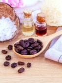 Natural Spa Ingredients . - Aromatic spa coffee beans with sea s — Fotografia Stock