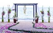 Wedding setting venue on the beach . — Stock Photo