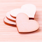 The wooden hearts on wooden background. - Concept for love and wedding . — Stock Photo