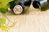 Wine bottle with vine and wine cork put on the board. — Stock Photo
