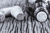 Some very old wine bottles - in  Black and White shot. — Stock Photo