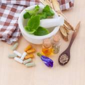 Альтернативные здравоохранения свежих трав, сухой и травяные капсулы wi — Стоковое фото