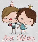 Best sisters — Stock Vector