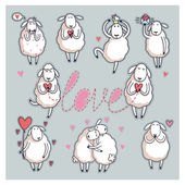Funny cute sheep. Valentine's Day — Wektor stockowy