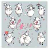 Funny cute sheep. Valentine's Day — Vetor de Stock