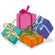 Set of colorful gift boxes with bows and ribbons. — Stock Vector #75391117