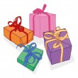 Set of colorful gift boxes with bows and ribbons. — Stock Vector #75391161
