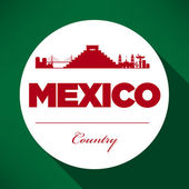 Mexico Skyline with Typography Design — Stock Vector