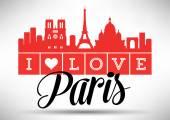 I Love Paris Typography Design — Stockvektor