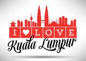 I Love Kuala Lumpur Typography Design — Stock Vector