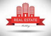 Black and white real estate icon — Stock Vector
