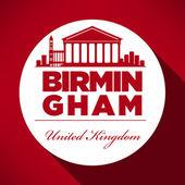 Birmingham England city skyline silhouette. — Stock Vector