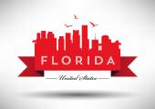 Florida Skyline with Typography Design — Stock Vector