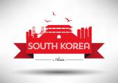 South Korea Skyline with Typography Design — Vetorial Stock