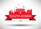 South Korea Skyline with Typography Design — Vettoriale Stock