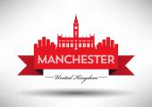 Manchester England city skyline silhouette. — Stock Vector