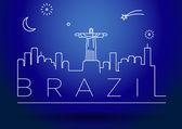 Brazil Line Silhouette — Stock Vector