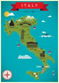 Colorful Map of Italy — Stock Vector