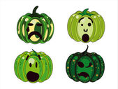 Four green pumpkins simpering — Stock Vector