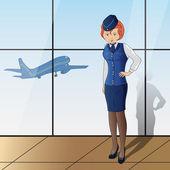 Stewardess — Vector de stock