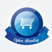 Sfondo scuro di cyber lunedì — Vettoriale Stock