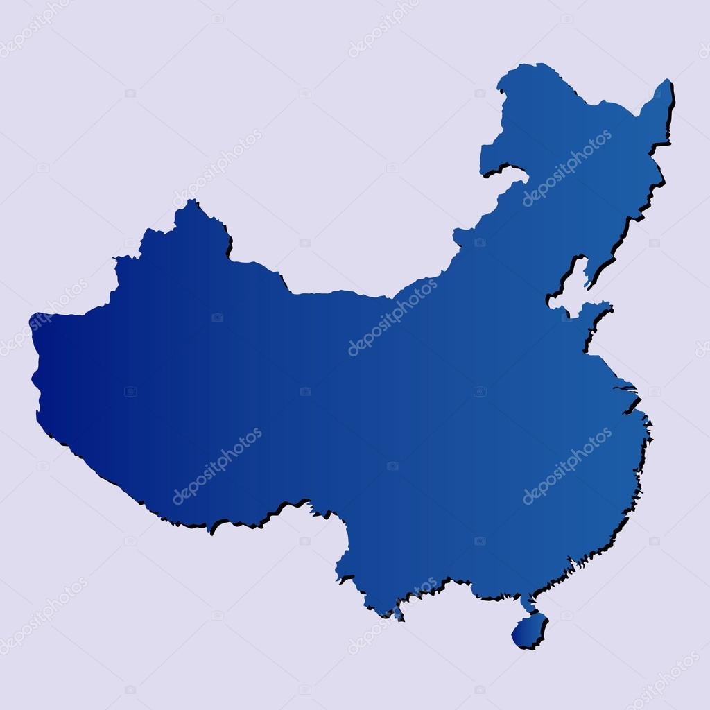 中国在浅蓝色背景上的孤立蓝色电子地图– 图库插图