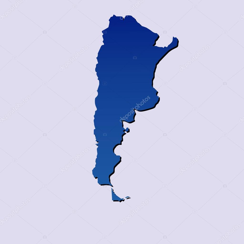 阿根廷在浅蓝色背景上孤立蓝色地图