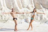 Couple having fun at salt marsh — Foto Stock