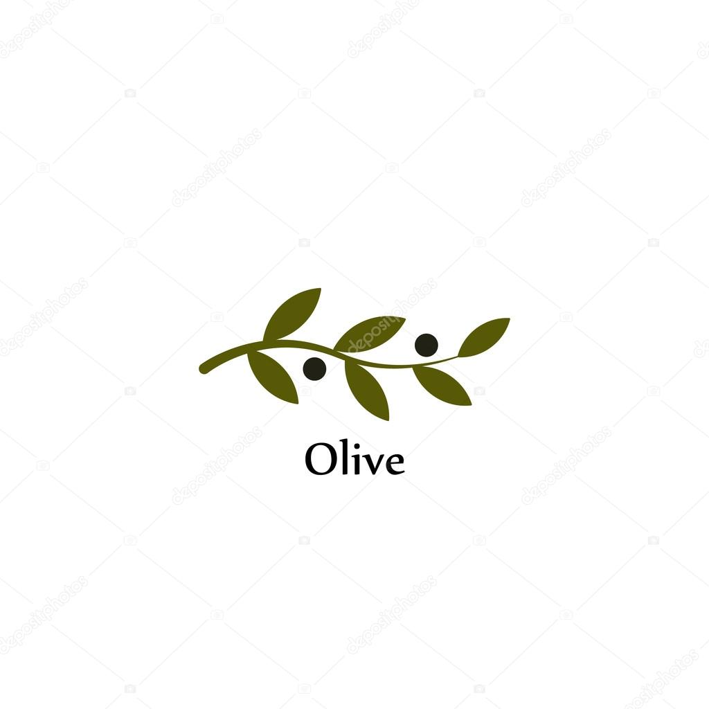 Isolated Green Vector Olive Branch Logo Olive Oil Sign