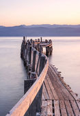 Wooden jetty in ionian sea — Stock Photo