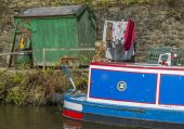 Narrowboat, moorings — Stok fotoğraf