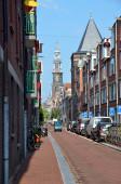 Narrow street in Amsterdam — Stock Photo