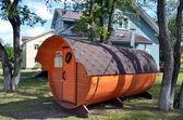 Nieuwe houten sauna voor verkoop — Stockfoto
