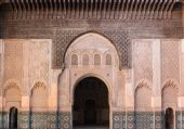 The marble craft of building at Medersa Ben Youssef in Marakesh — Stock Photo