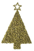 Christmas tree made from coffee beans. — Stock Photo