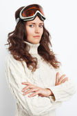 Portrait of young woman go in for winter sports over white backg — Foto Stock