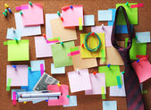 Image of colorful sticky notes on cork bulletin board — Stock Photo