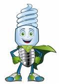 Energy saving light bulb, character — Stockvektor