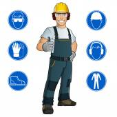 Man dressed in work clothes — Stock Vector