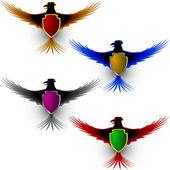 Bird Eagle Honor Shield Sign — Stock Vector
