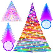 Christmas Fir Tree Set Color New Year Abstract — Vetorial Stock