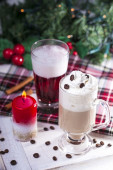 Christmas Coffee with Whipped Cream — Stock Photo