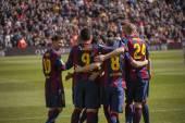 During FC Barcelona match — Zdjęcie stockowe